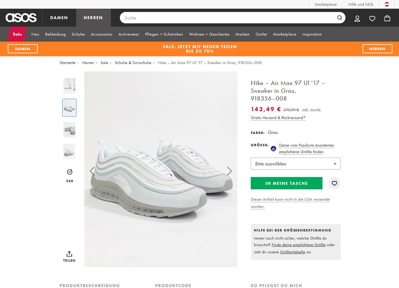 Nike – Air Max 97 Ul '17 – Sneaker in Grau für nur 143,49