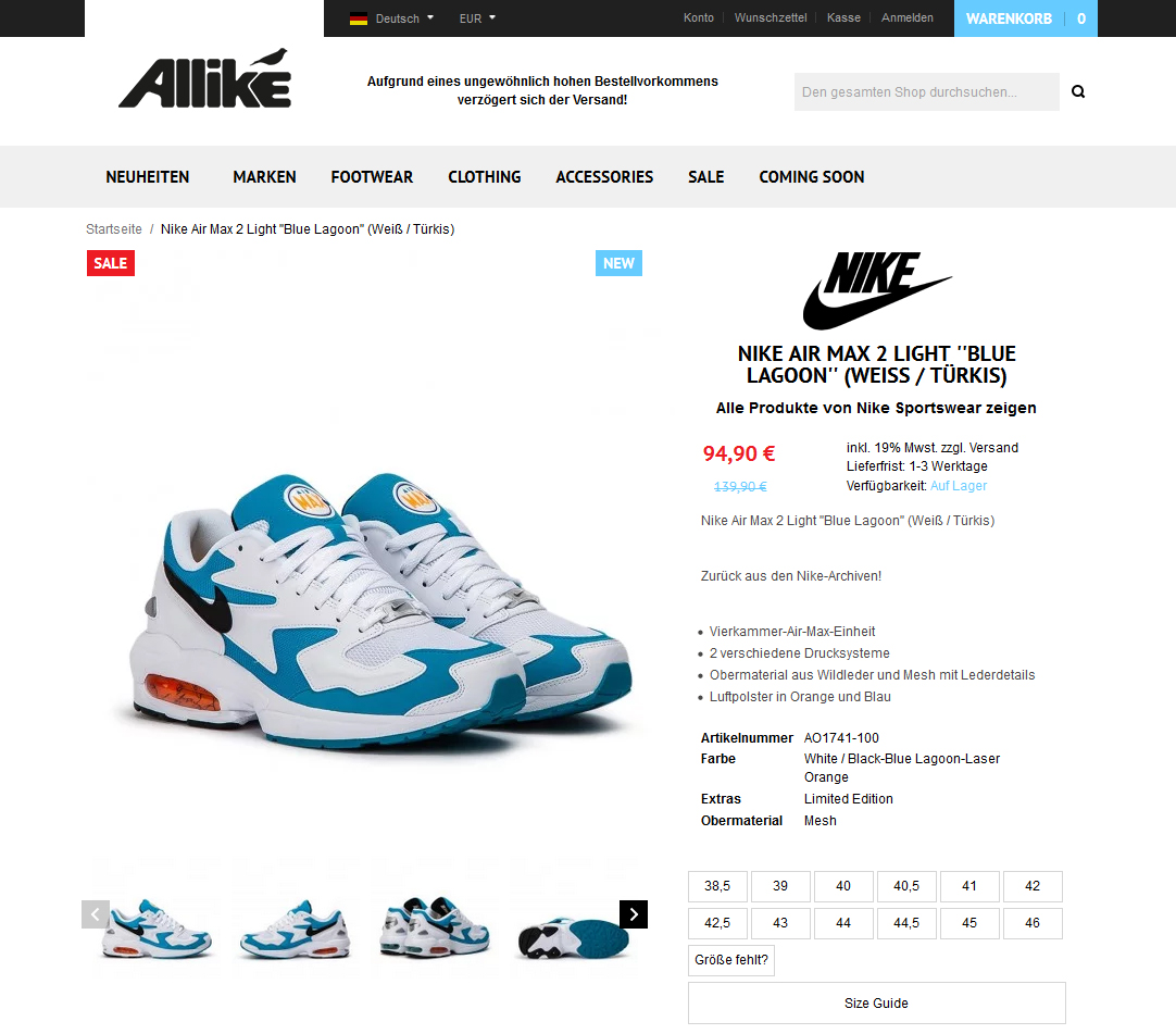 Nike Air Max 2 Light ''Blue Lagoon'' (Weiß _ Türkis)