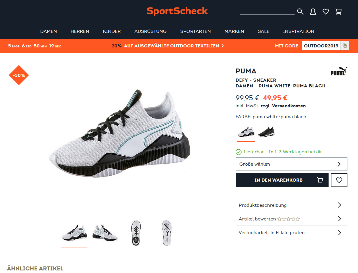PUMA DEFY Sneaker Damen puma white puma black für nur 49