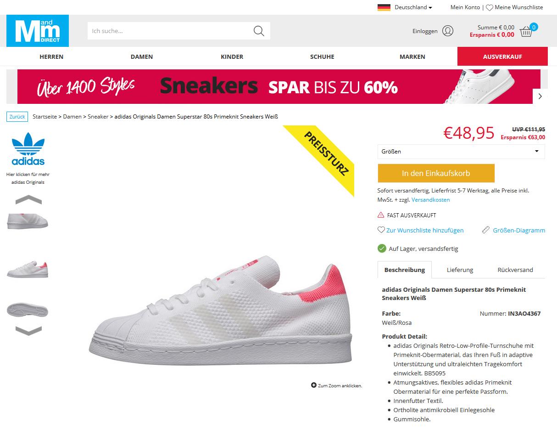 adidas Originals Damen Superstar 80s Primeknit Sneakers Weiß