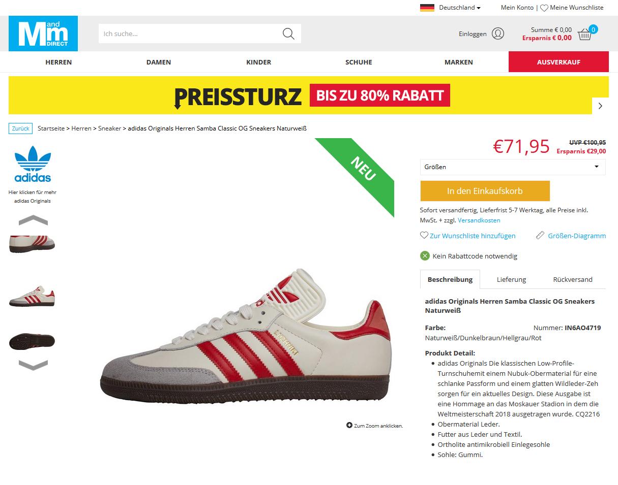 adidas Originals Herren Samba Classic OG Sneakers Naturweiß