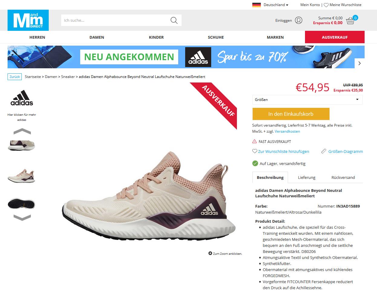 adidas Damen Alphabounce Beyond Neutral Laufschuhe Naturweißmeliert3