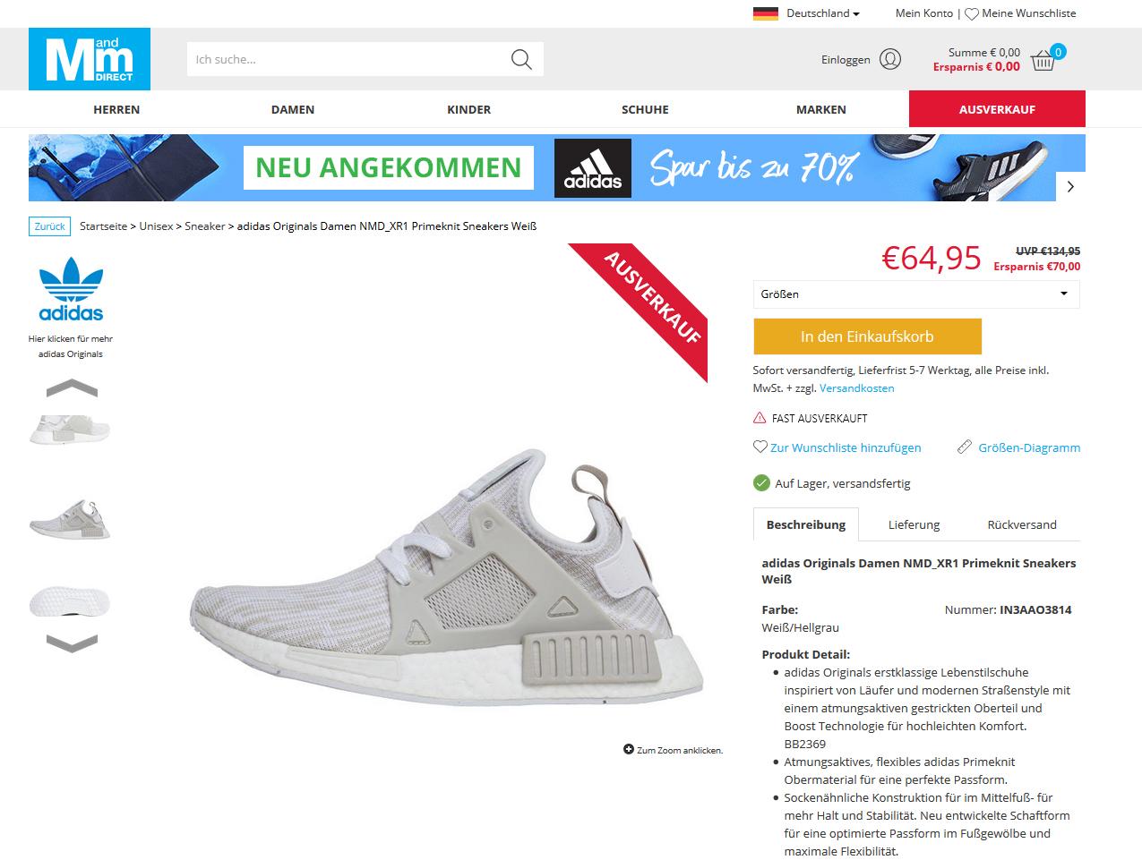 adidas Originals Damen NMD_XR1 Primeknit Sneakers Weiß3