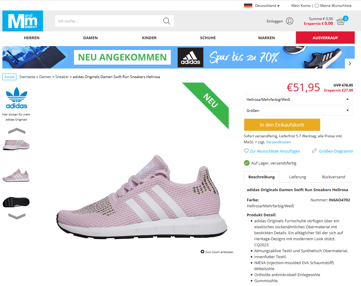 adidas Originals Damen Swift Run Sneakers Hellrosa3